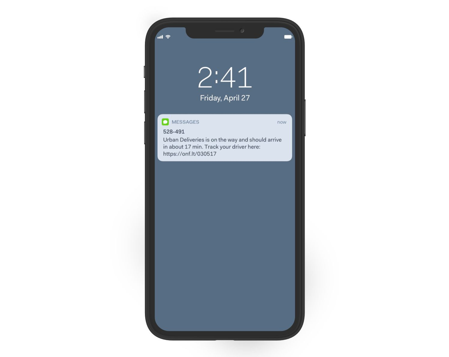 An example of an SMS notification your customer would receive when you use Onfleet.