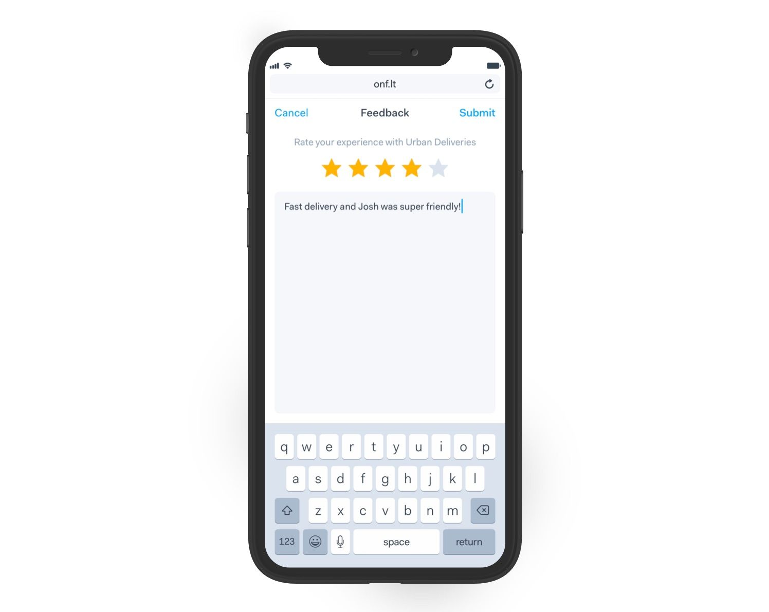 Onfleet's customer feedback collection