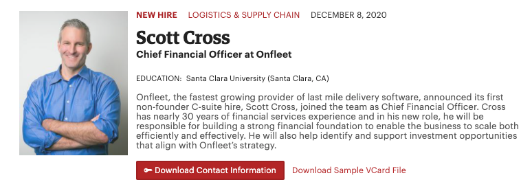Onfleet welcomes Scott Cross as CFO