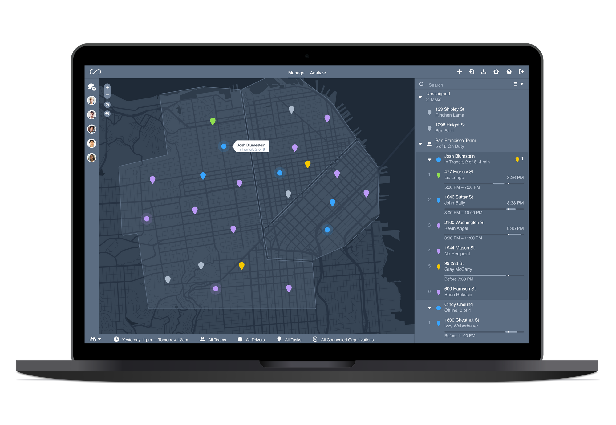 Onfleet's dashboard allows dispatchers to use automated customer messaging and route optimization so drivers can focus on the road