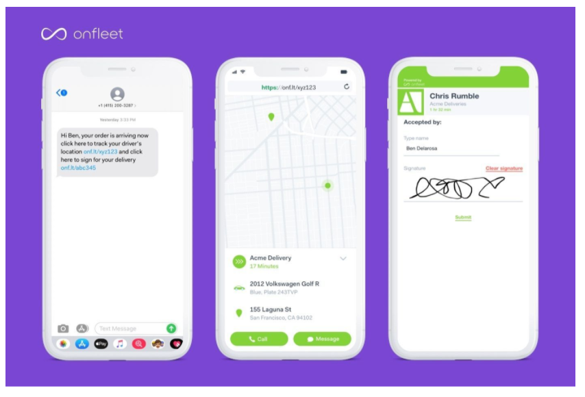 Onfleet alerts customers via text to sign ahead of a delivery