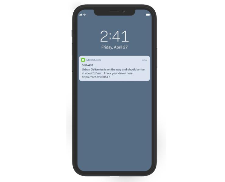 Customer updates sent from Onfleet